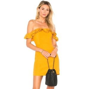 Revolve Off The Shoulder Ruffle Dress, Marigold, S